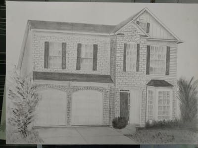 A painting of home, property, house, real estate, siding, residential area, building, window, estate, facade