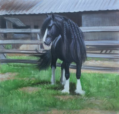 A painting of horse, stallion, horse like mammal, mare, mane, fauna, mustang horse, grass, horse tack, horse supplies