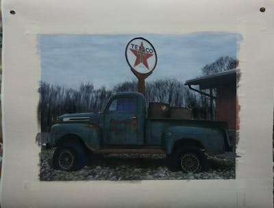 A painting of motor vehicle, car, vehicle, pickup truck, truck, classic, automotive exterior, tree, off road vehicle, mid size car