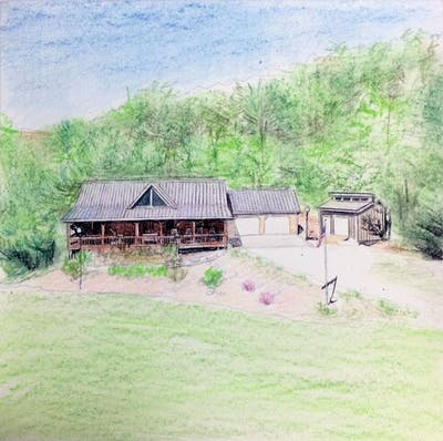 A painting of property, home, cottage, house, real estate, estate, farmhouse, land lot, rural area, landscape