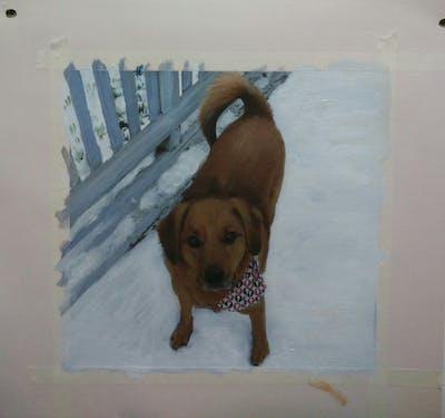 A painting of dog, dog breed, dog like mammal, dog breed group, snow, snout, broholmer, dog crossbreeds, puppy, redbone coonhound