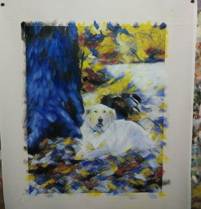 A painting of dog, dog breed, golden retriever, leaf, dog like mammal, tree, woodland, retriever, grass, snout
