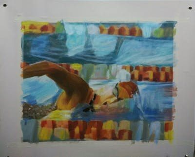 A painting of swimming, leisure, medley swimming, freestyle swimming, swimmer, water sport, sports, recreation, leisure centre, fun