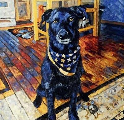 A painting of dog, dog breed, dog like mammal, dog breed group, borador, labrador retriever, snout, sporting group