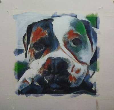 A painting of dog, dog like mammal, black, black and white, dog breed, mammal, nose, vertebrate, monochrome photography, snout