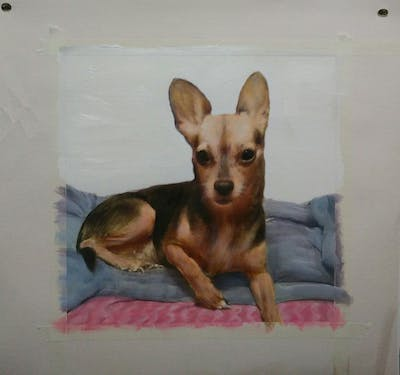A painting of dog, dog like mammal, dog breed, chihuahua, carnivoran, snout, russkiy toy, pražský krysařík, dog breed group, puppy