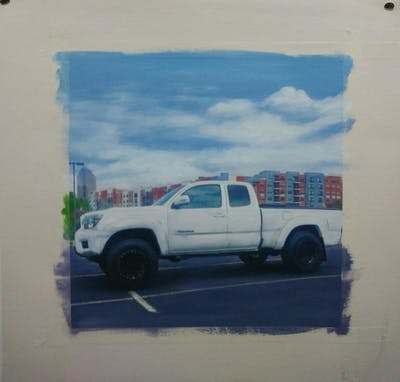 A painting of car, land vehicle, motor vehicle, vehicle, pickup truck, automotive tire, tire, truck, toyota, rim