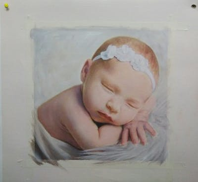 A painting of infant, hair accessory, child, headpiece, headgear, headband