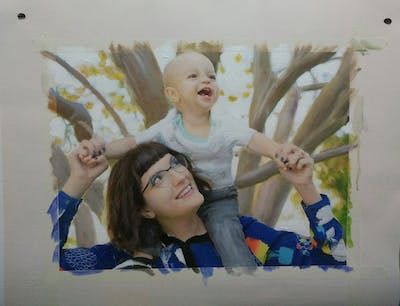 A painting of people, facial expression, child, girl, smile, fun, happiness, product, recreation, tree