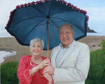 A painting of umbrella, pink, fashion accessory, fun, smile, vacation, senior citizen, recreation, tree