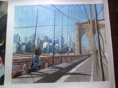 A painting of urban area, bridge, sky, city, transport, metropolitan area, building, structure, skyscraper, metropolis