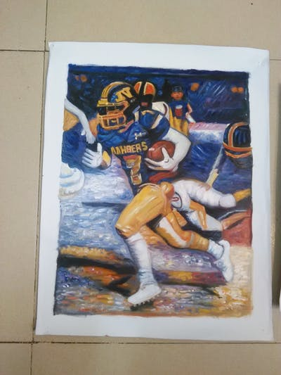 A painting of gridiron football, american football, sport venue, protective gear in sports, games, football helmet, protective equipment in gridiron football, yellow, team sport, canadian football