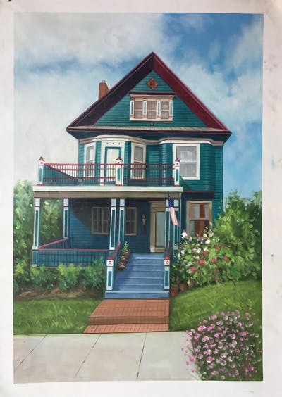 A painting of home, house, property, residential area, neighbourhood, real estate, cottage, estate, building, mansion