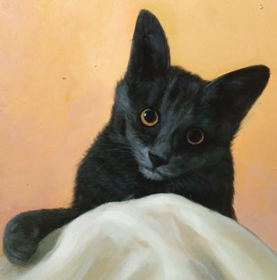 A painting of cat, small to medium sized cats, cat like mammal, korat, chartreux, whiskers, kitten, nebelung, domestic short haired cat, maine coon