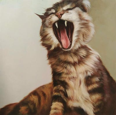 A painting of cat, facial expression, yawn, whiskers, small to medium sized cats, emotion, fur, cat like mammal, fauna, snout