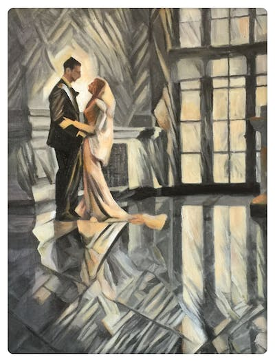 A painting of bride, photograph, woman, wedding dress, gown, bridal clothing, dress, wedding, beauty, ceremony