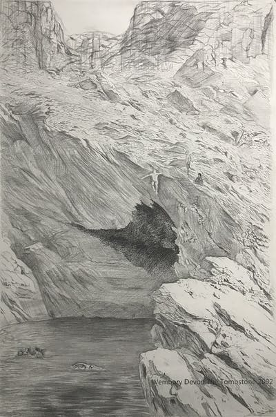 A painting of cliff, rock, coastal and oceanic landforms, formation, coast, terrain, water, sea cave, escarpment, geology