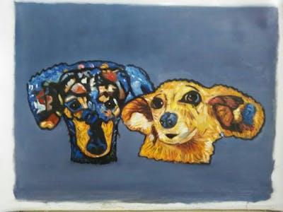 A painting of dog, dog like mammal, mammal, vertebrate, nose, dog breed, carnivoran, cartoon, snout, illustration