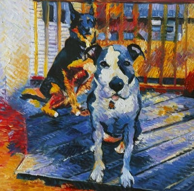A painting of dog, dog like mammal, dog breed, dog breed group, snout, american staffordshire terrier, american pit bull terrier