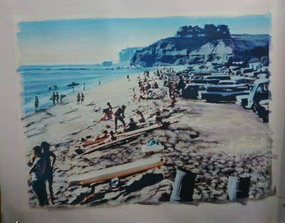 A painting of body of water, beach, coast, sea, shore, tourism, sand, coastal and oceanic landforms, vacation, ocean