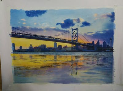 A painting of bridge, skyline, reflection, landmark, sky, water, cityscape, city, daytime, urban area