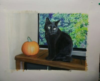 A painting of cat, black cat, small to medium sized cats, cat like mammal, whiskers, bombay, korat, domestic short haired cat