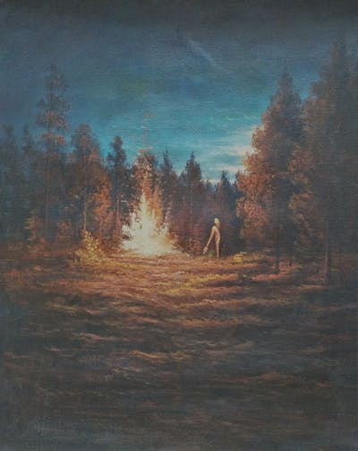 A painting of nature, campfire, sky, geological phenomenon, bonfire, fire, atmosphere of earth, atmosphere, phenomenon, darkness