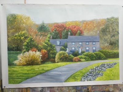 A painting of home, leaf, property, house, autumn, tree, real estate, residential area, cottage, estate