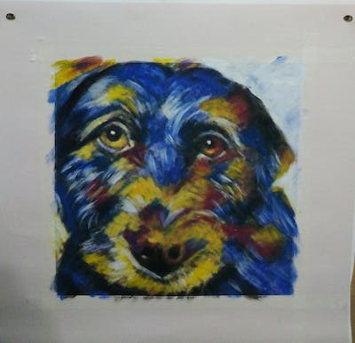 A painting of dog, dog breed, dog like mammal, snout, dog crossbreeds, painting, whiskers, patterdale terrier, schnoodle, puppy