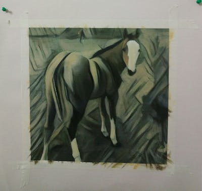 A painting of horse, mare, horse like mammal, stallion, colt, mane, rein, horse supplies, mustang horse, foal
