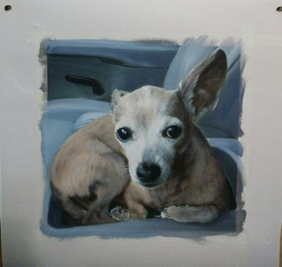 A painting of dog, dog breed, dog like mammal, chihuahua, dog breed group, snout, companion dog, carnivoran, puppy, dog crossbreeds