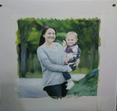 A painting of people, photograph, photography, child, fun, smile, girl, family, tree, portrait photography
