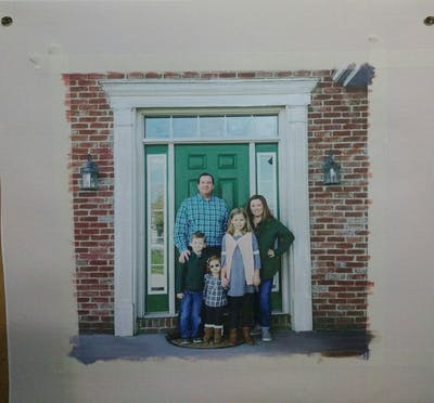A painting of people, photograph, home, house, family, window, door, pattern
