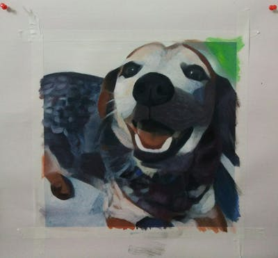 A painting of dog, dog breed, snout, dog like mammal, dog crossbreeds, companion dog, whiskers