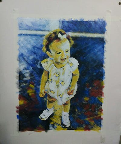 A painting of child, toddler, infant, outerwear, girl, material, shoe, pattern, smile, fun
