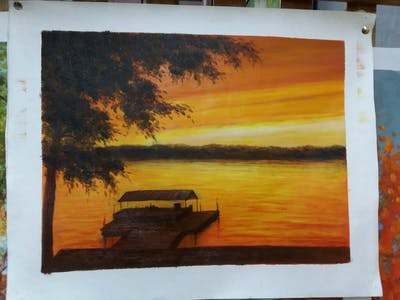 A painting of nature, sunset, sky, reflection, afterglow, water, lake, sunrise, red sky at morning, horizon