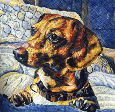 A painting of dog, dog breed, dog like mammal, snout, dachshund, dog crossbreeds, hound, treeing walker coonhound, whiskers, carnivoran