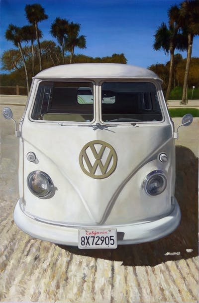 A painting of car, motor vehicle, vehicle, van, automotive design, volkswagen type 2, automotive exterior, classic car, mid size car, compact car
