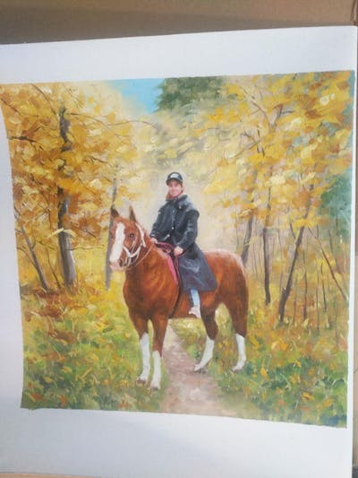 A painting of horse, trail riding, horse like mammal, tree, bridle, mare, stallion, mustang horse, equestrianism, rein