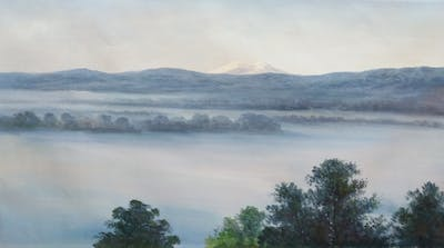 A painting of mist, fog, sky, morning, hill station, water resources, dawn, phenomenon, atmosphere, tree