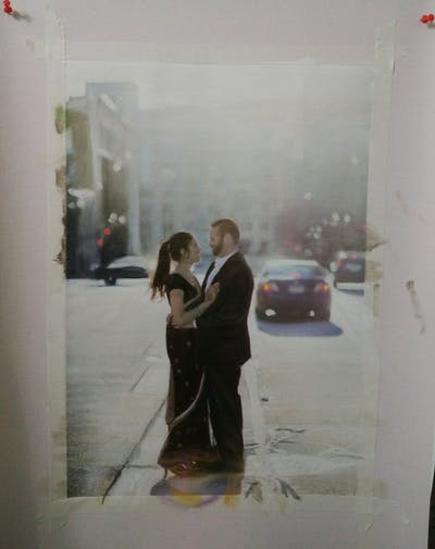 A painting of photograph, photography, ceremony, girl, dress, interaction, romance, sunlight, happiness, event