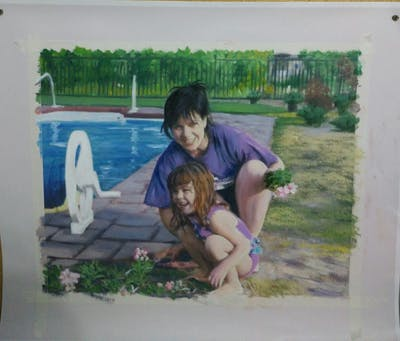 A painting of vertebrate, leisure, fun, vacation, recreation, summer, swimming pool, plant, play, girl