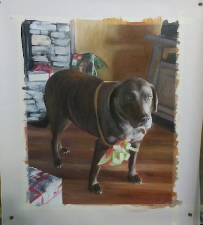 A painting of dog, dog breed, dog like mammal, snout, carnivoran, dog crossbreeds, sporting group
