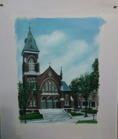 A painting of building, medieval architecture, place of worship, church, parish, chapel, cathedral, basilica, steeple, facade