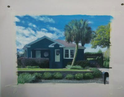 A painting of home, house, property, residential area, real estate, cottage, neighbourhood, plant, architecture, tree