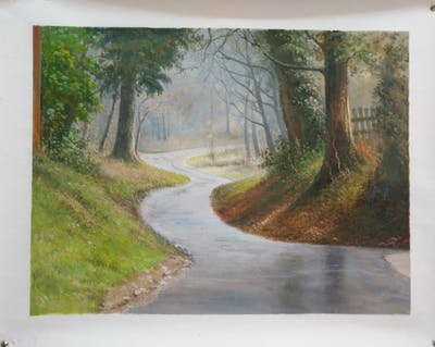 A painting of road, path, tree, woodland, forest, trail, lane, road surface, winter, grass