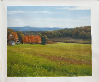 A painting of grassland, pasture, field, meadow, sky, hill, ecosystem, plain, highland, farm