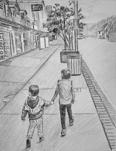 A painting of people, pedestrian, town, urban area, public space, street, road, infrastructure, city, lane
