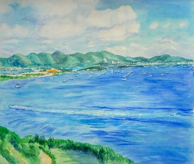 A painting of sky, sea, horizon, promontory, coast, coastal and oceanic landforms, ocean, bay, cloud, reservoir