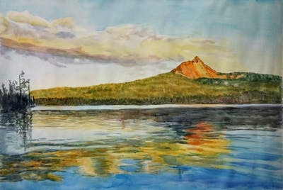 A painting of reflection, loch, nature, lake, sky, water, wilderness, calm, reservoir, water resources